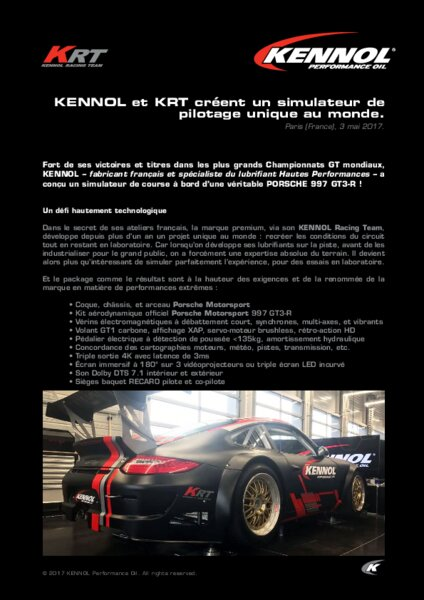 kennol krt simulateur de pilotage porsche am today. Black Bedroom Furniture Sets. Home Design Ideas