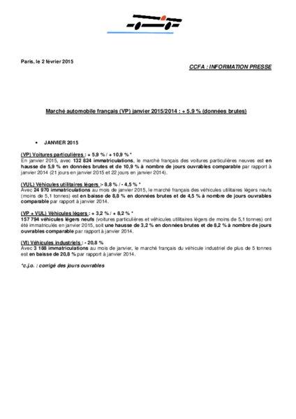 Marche Automobile Francais Vp Janvier 2015 2014 5 9 Selon Le