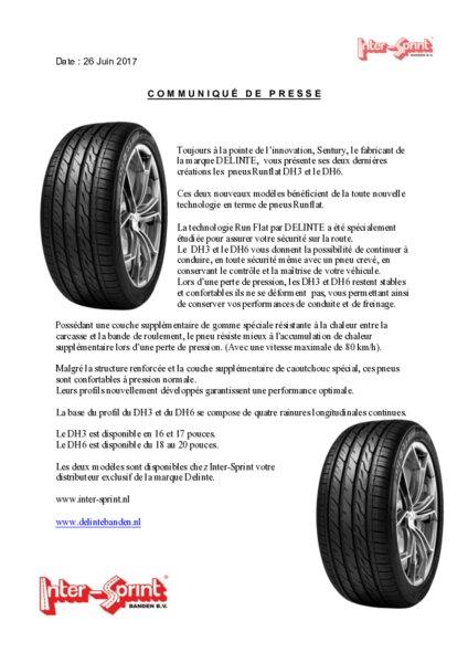 inter sprint nouveaux pneus runflat dh3 et le dh6 am today. Black Bedroom Furniture Sets. Home Design Ideas
