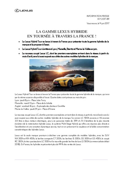 la gamme lexus hybride en tourn e travers la france am today. Black Bedroom Furniture Sets. Home Design Ideas