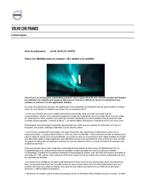Volvo lance la marque m d di e la mobilit am today - Salon de la mobilite ...