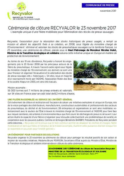 Ceremonie De Cloture Recyvalor Le 23 Novembre 2017 Am Today
