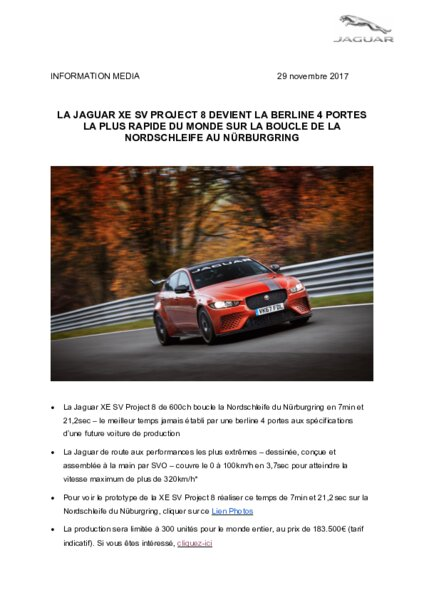 Jaguar xe sv project 8 la 4 portes la plus rapide au - Controle technique pace ...