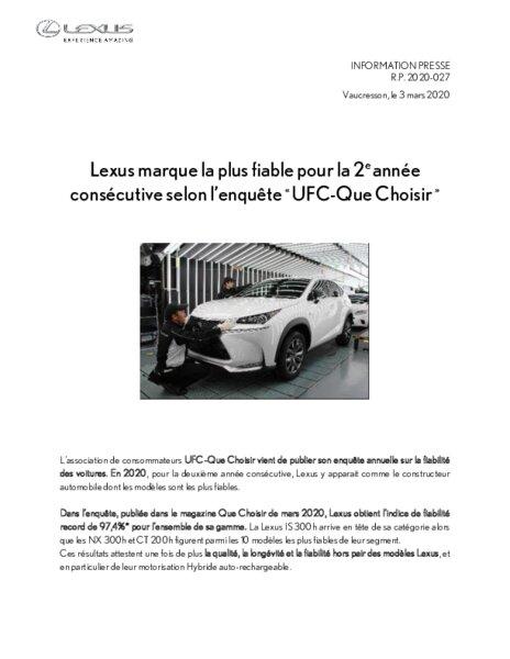Lexus Marque La Plus Fiable Pour La 2e Annee Consecutive Selon L Enquete Ufc Que Choisir