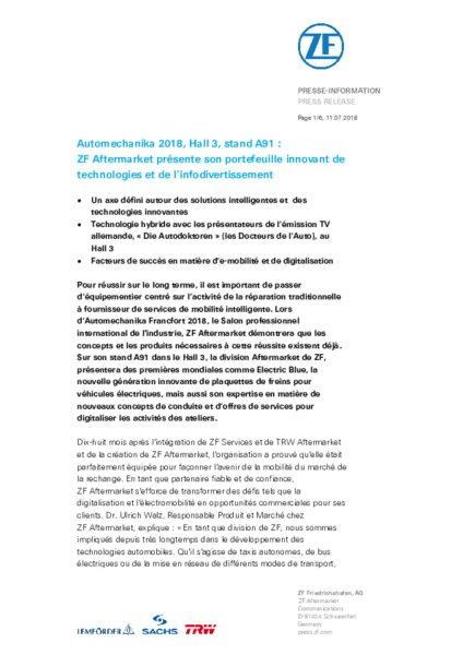 Automechanika 2018 le programme zf am today - Salon de la mobilite ...