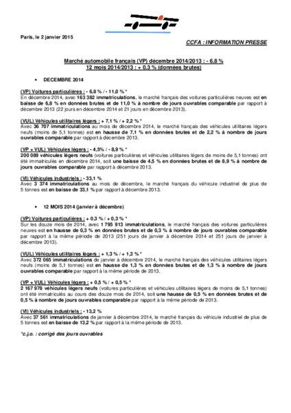 Marche Automobile Francais Vp Decembre 2014 2013 6 8 Selon Le