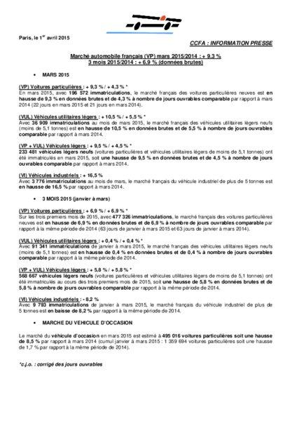 Marche Automobile Francais Vp Mars 2015 2014 9 3 Selon Le