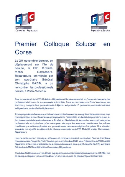 ffc premier colloque solucar en corse am today. Black Bedroom Furniture Sets. Home Design Ideas